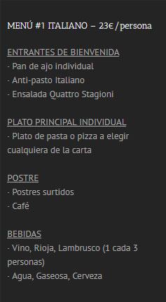 Menú Italiano 1 Boatparty Benalmadena