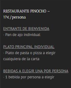 Menú Pinocho Boat Party Benalmádena