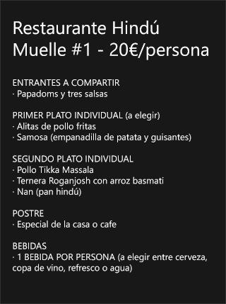 Menú Restaurante Hindú Muelle Nº1 Boat Party Málaga
